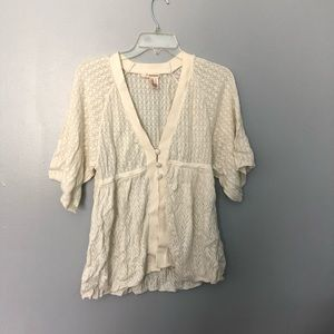 Dkny jeans crocheted button front cardigan M